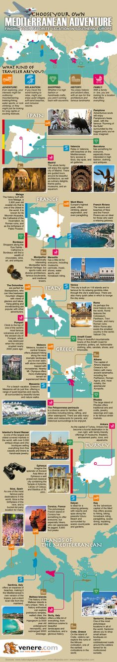Choose Your Own Mediterranean Adventure   #Adventure #Travel #infographic #infografía