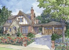 Honeymoon Cottage - L. Mitchell Ginn & Associates - This adorable cottage is perfect for newlyweds and their soon-to-be growing family. The attic floor - Tudor House, Tudor Cottage, Rustic Cottage, French Cottage, English Cottage Exterior, English Cottage Style, Storybook Cottage, Cottage Floor Plans, Cottage House Plans