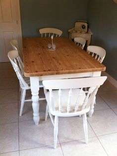 Shabby Chic Farmhouse 6 Foot Pine Table And Chairs In Laura Ashley White