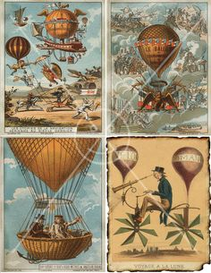 Steampunk Hot Air Balloons 4.25 x 5.5 Cards Digital Collage Sheet Printable Image 6003. $1.50, via Etsy.