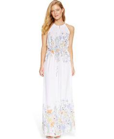 Ivanka Trump Floral-Print Keyhole Maxi Dress