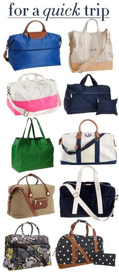 Weekender Bags -- I have the Lesportsac and Longchamp. I would easily recommend either! Love a good weekender. Both also pack well for long trips as an extra for souveniers, etc.