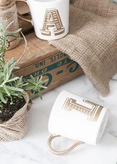 Gold initial mug gifts