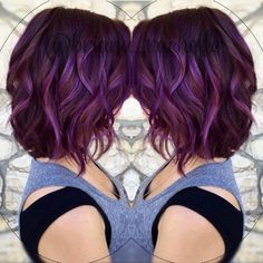 28 Super Cute Ways to Curl Your Bob Layered, Curly Lob Hairstyles - Medium Brown and Plums Color