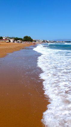 Aghia Marina beach in Chania, Crete island ~ Greece Crete Island Greece, Marina Beach, Holiday Places, Greeks, Travelogue, Greece Travel, Greek Islands, Beautiful Beaches, Places To Travel