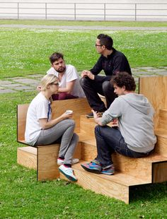 Wooden stair public furniture by Sebastian Marbacher