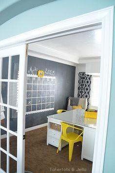 DIY organize - chalkboard wall calendar - Tatertots and Jello