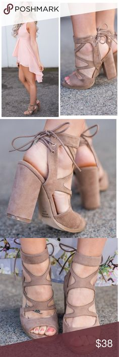 """Taupe strapped Suede lace up chunky heel These neutral colored chunky heels are so essential for spring and summer! Pair these with absolutely any outfit to add some sexy chicness! The lace up detail on the back makes these heels easy to slip on and tighten to your desired size! Pair these with your favorite flowy maxi or denim and a cute top!  Model Wearing Size 6.5  Color: Taupe 4"""" Heel Man Made True To Size Shoes Heels"""