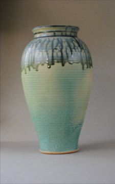 Handmade Vase Green with Blue Ash by John McCoy Pottery