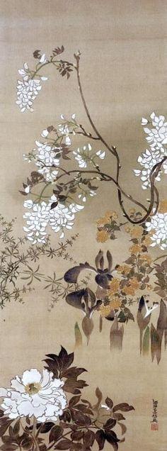 WATANABE Shiko (1683-1755), Japanese hanging scroll. Eighteenth century. Rinpa School
