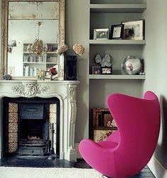pink egg antique mirror
