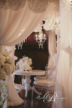 Stunning head table canopy with chandeliers  Wedding Designer Rachel A. Clingen  Photo Credit Impulse Photography