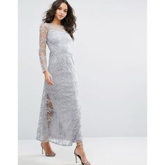 Vero Moda Premium Lace Maxi Dress (£58) ❤ liked on Polyvore featuring dresses, blue, blue maxi dress, sleeved maxi dress, high neck lace dress, lace maxi dress and lace camis