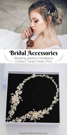 Bridal accessories: Wedding jewelry, headpieces, hair pins, combs, tiaras, vines by DreamlisShop. Each wedding accessories and jewelry are created from high-quality materials: natural pearls, rock crystal, Japanese beads, silver-plated wire. #weddingideas #beachwedding Bridal Comb, Bridal Hair Pins, Bridal Headpieces, Wedding Tiaras, Wedding Sets, Bridal Jewellery, Wedding Jewelry, Hair Wreaths, Wedding Hair Pieces