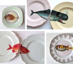 I'm liking Yvonne Ellen her handpainted fish plates, you do too? ..Yvonne Ellen