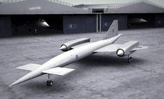 Avro 730 render, TSR-2s in background. Ridiculous, brilliant 1950s jet-age stuff.