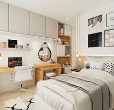 Discover recipes, home ideas, style inspiration and other ideas to try. Small Room Design Bedroom, Girl Bedroom Designs, Room Ideas Bedroom, Home Room Design, Home Decor Bedroom, Home Interior Design, Small Bedrooms, Bedroom Ideas For Small Rooms, Small Bedroom Interior
