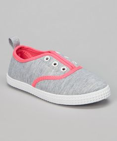 Love this Light Gray & Pink Jersey Slip-On Sneaker by Chatties on #zulily! #zulilyfinds