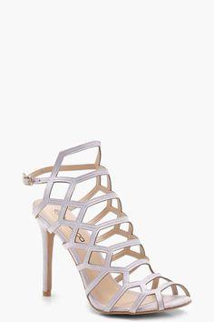 20eb1271778 boohoo Amber Peeptoe Cage Heels pastel purple lilac high heels heeled  sandals