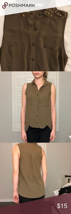 Chloe K Chiffon blouse with studded collar XS Button up blouse with gold studded collar detail.  Like new condition, no flaws. Chloe K Tops Blouses