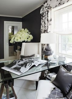Suzie: Joel Woodward - Chic black office design with bold black walls paint color, white & . home office Inspiration : 10 Beautiful Home O. Home Office Space, Home Office Design, Home Office Decor, Office Ideas, Home Decor, Office Chic, Office Spaces, Black Painted Walls, Black Walls