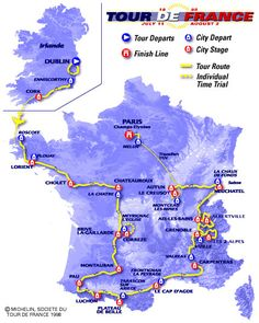 Bildresultat för tour de france 1998 race map