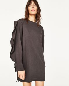 DRESS WITH SLEEVE FRILL-DRESSES-WOMAN | ZARA United States