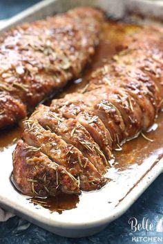 Dijon Mustard Pork Tenderloin With Tarragon Wine Sauce . Bacon Honey Pork Tenderloin Recipe With Mustard Cranberry . Roasted Pork Tenderloin With Apricot Mustard Glaze Recipe . Home and Family Best Pork Tenderloin Recipe, Mustard Pork Tenderloin, Tenderloin Pork, Pork Chops, Grilled Pork Tenderloin Marinade, Healthy Pork Tenderloin Recipes, Roast Brisket, Pork Fillet, Pork Recipes