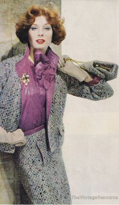 Suzy Parker in Chanel,1958 vintage fashion style designer couture suit dress skirt jacket blouse shirt grey purple matching purse supermodel color photo print ad late 50s era
