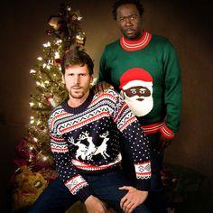 Black Santa Christmas Sweater & Reindeer Threesome