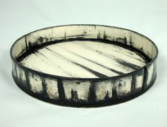 Large Handbuilt Black and White Earthenware Platter Olia Lamar