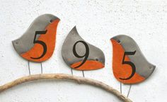 The Robin Address Plaques, Address Numbers, House Numbers Plaque, Ceramic House Number by AyeBarDesigns on Etsy https://www.etsy.com/au/listing/560332398/the-robin-address-plaques-address