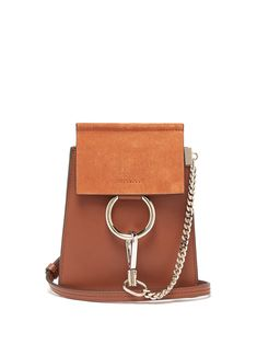 6a466d5e654d Faye mini suede-panel leather cross-body bag
