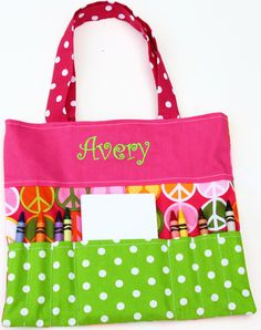 """cute gift for my girls  Personalized Crayon Purse  Color:Multicolor  Letter Color: Green  Dimensions: 9.5"""" x 8.5""""  Carry art supplies in style.Kids lovethese personal..."""