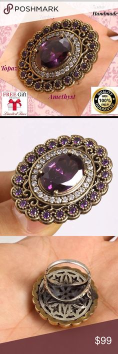 """OTTOMAN HANDMADE TOPAZ AMETHYST 925 SILVER RING Material is .925 Sterling Silver and Bronze. The stones are TOPAZ, AMETHYST. This Ring is 21,27 grams. Head size is 1,15"""". Ring Size is 7.5 How Can Amethyst Help You? Amethyst has a myriad of natural aids for the body by producing small, detectable levels of magnetic fields. the naturally-occurring magnetic fields from amethyst may actually produce favorable results in the body. Since the body has its own magnetic field, it is possible that…"""