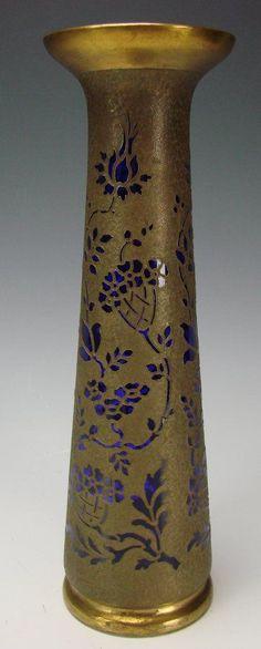 Antique Val St Lambert Cobalt Gilt Glass Cameo Vase Signed Brass from hideandgokeep on Ruby Lane