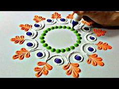 Easy rangoli for independence day Rangoli Simple, Rangoli Borders, Rangoli Border Designs, Small Rangoli Design, Rangoli Patterns, Colorful Rangoli Designs, Rangoli Ideas, Diwali Rangoli, Beautiful Rangoli Designs