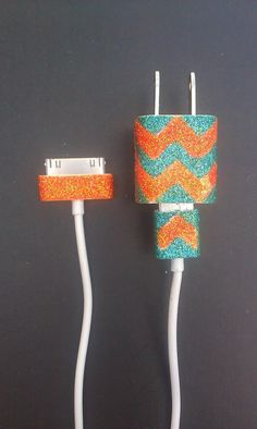 also do this with nail polish! Chevron Glitter iPhone Charger