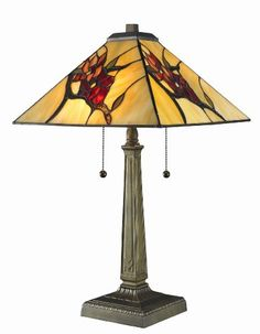 TIFFANY MISSION WITH FLORAL MOTIF TABLE LAMP - Click image twice for more info - See a larger selection of pull chain table lamps at http://tablelampgallery.com/product-category/pull-chain-table-lamps/ - home, home decor, lamp, lighting , gift ideas.