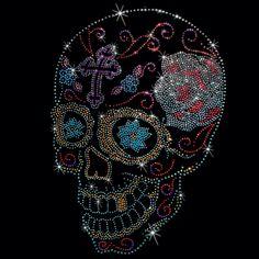 (SIDE VIEW SUGAR SKULL (STUDS)) 8x12  - SIDE VIEW SUGAR SKULL (STUDS) - skull, studs, sugar skull, Material Transfer, Skulls