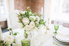 Green and White Wedding Flowers | photography by http://adriennegunde.com/