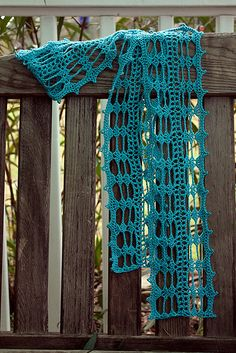 """Luna Lovegood Scarf in """"Mermaid"""" in etsy.  Very pretty  This pattern is available for free on Ravelry:  Luna Lovegood Scarf  by Jen Valure"""