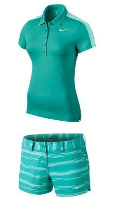 Lt Retro/Art Teal Nike Ladies Golf Outfits (Shirt & Short) at Ladies Golf Clubs, Best Golf Clubs, Cute Golf Outfit, Golf Attire, Womens Golf Shoes, Golf Fashion, Golf Shirts, Tees, Golf Tips