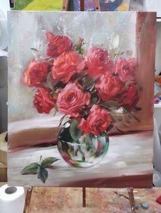 Lovely pink roses painting