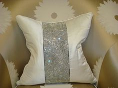 Luxury Throw Pillow,  Belgravia Diamante Bling, Shown in Off White