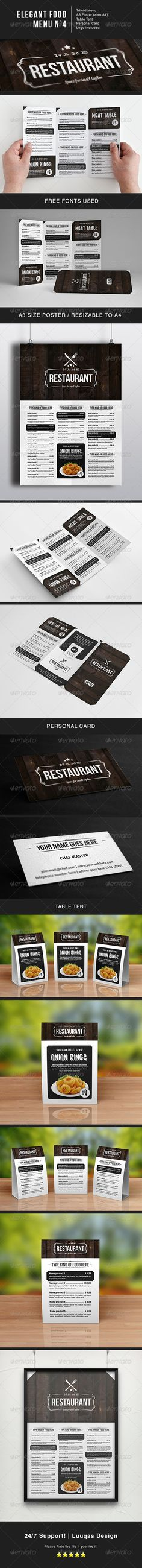 Buy Elegant Food Menu 4 by luuqas on GraphicRiver. Elegant food menu template for your restaurant. Features: Trifold menu Menu Poster (Resizable to Table tent. Food Menu Design, Restaurant Menu Design, Restaurant Ideas, Food Truck Menu, Food Menu Template, Menu Templates, Menu Printing, Menu Book, Menu Boards