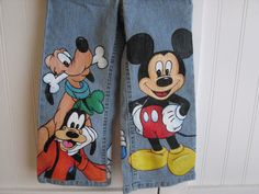 Custom Disney clothing Mickey n Friends with 3  LARGE SIZE CHARACTERS on front  Painted jeans Sz 18m  to 24 m, 2 to size 10
