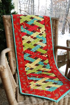 Merry Christmas table runner by Heather Mulder Peterson.  The pattern is in the book, Living Large, at Anka's Treasures.