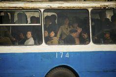 A bus in Pyongyang, North Korea Inside North Korea, Life In North Korea, South Korea, Cities In Korea, Korea News, Asia, Korean People, Bus Ride, North South
