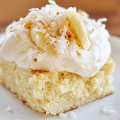 coconut tres leches cake -- This divine cake, after chilling, turns into a creamy, silky, cake-like pudding. Velvety, sweet goodness that is absolutely irresistible.